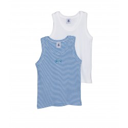 Pack of 2 boy's vest tops: milleraies stripe and plain