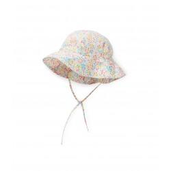 Baby girl sun hat in flower-printed poplin