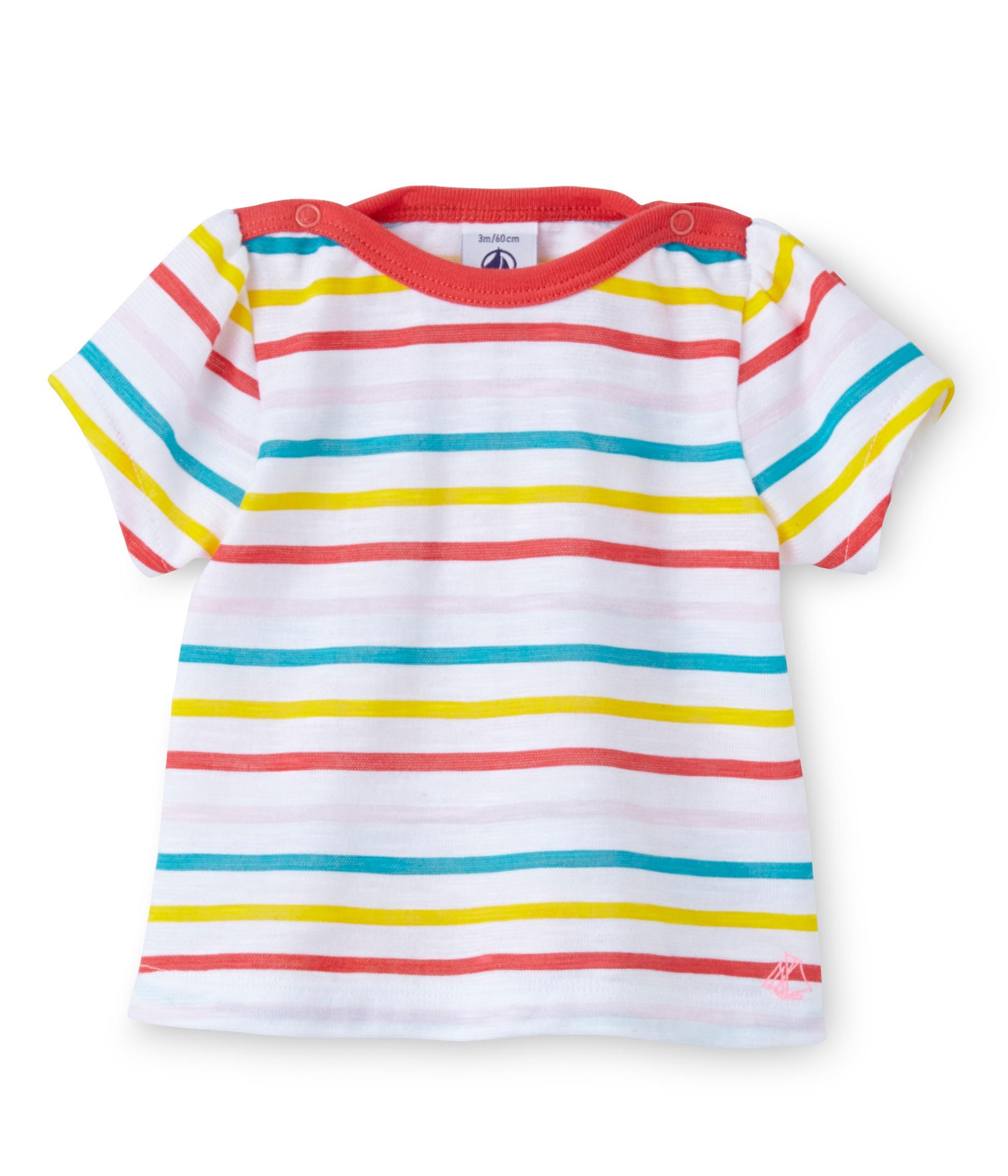 6fe1e6482979 Μπλούζα κοντομάνικη ριγέ για μωρό κορίτσι - petit-bateau.gr