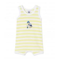 Baby boy's sleeveless striped romper