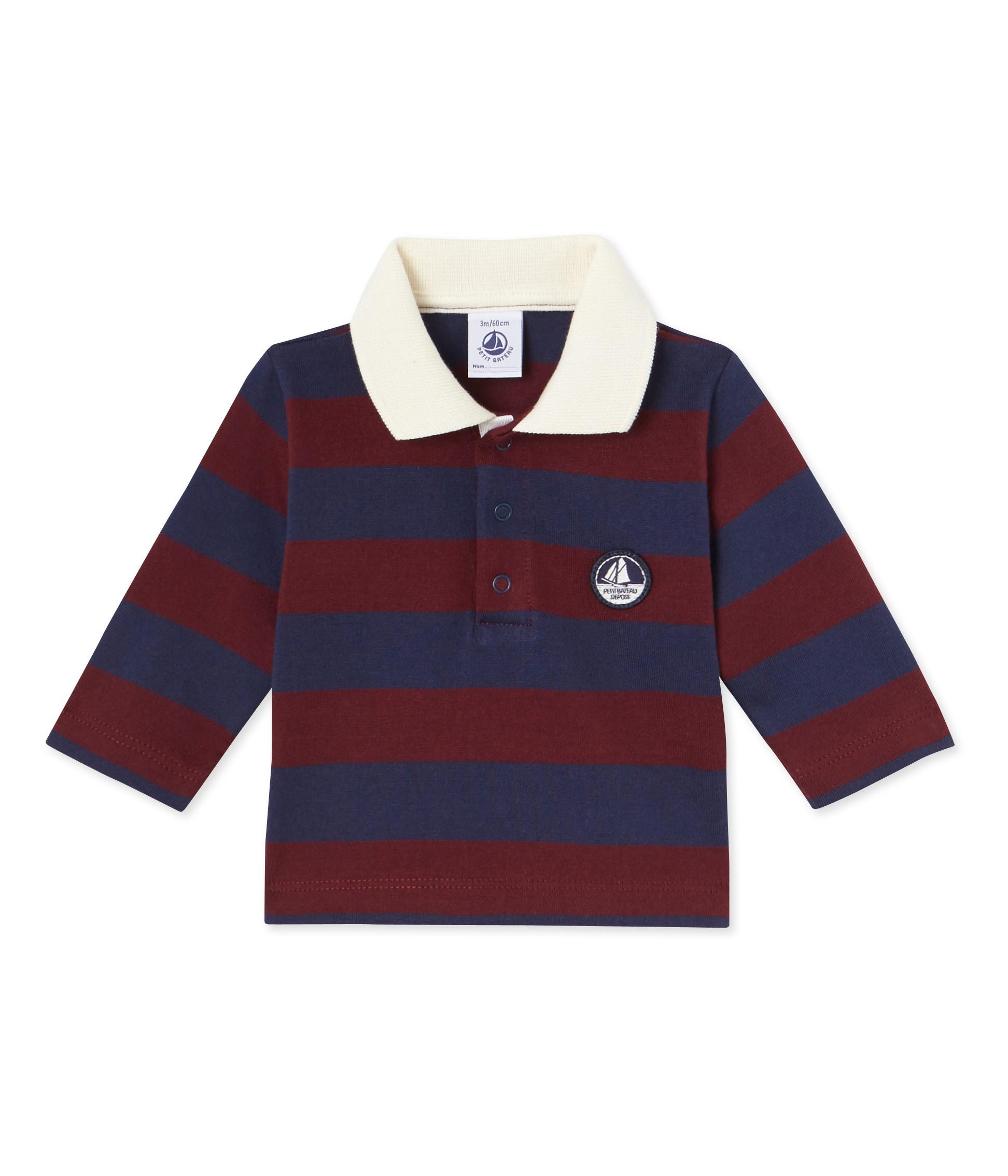 Μπλούζα πόλο μακρυμάνικη ριγέ για μωρό αγόρι - petit-bateau.gr 8c1a5695942