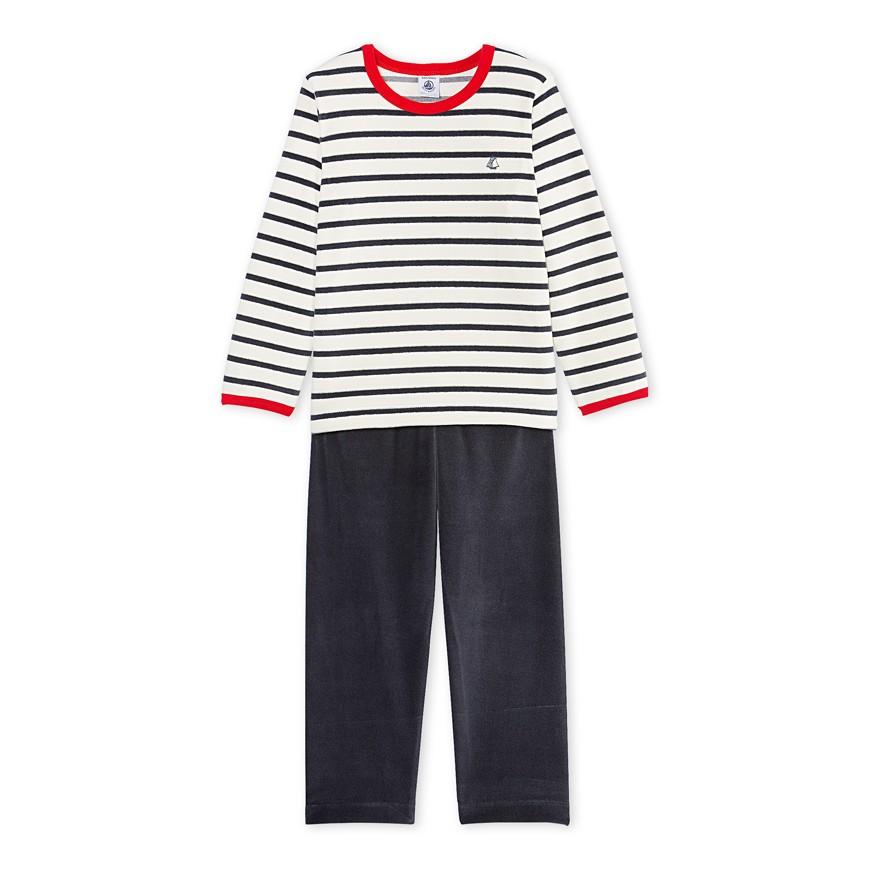 1075456ce07e Boy s striped velour pajamas - petit-bateau.gr