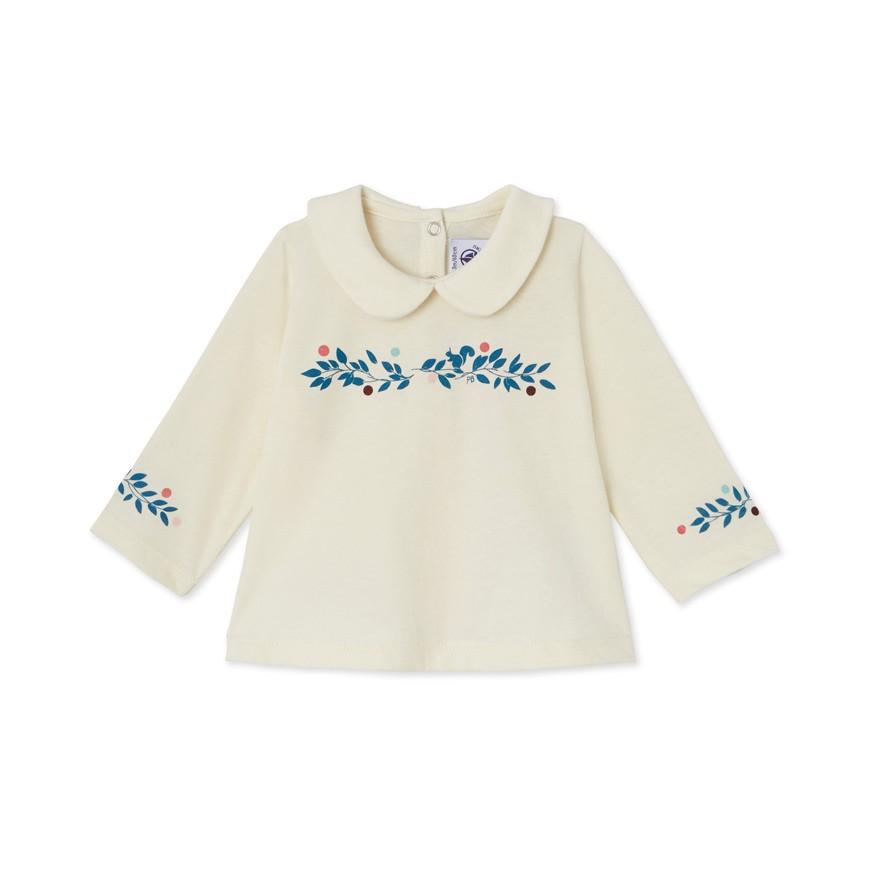 84629435146f Μπλούζα μακρυμάνικη ριγέ με γιακά για μωρό κορίτσι - petit-bateau.gr