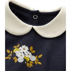 Μπλούζα μακρυμάνικη ριγέ με γιακά για μωρό κορίτσι