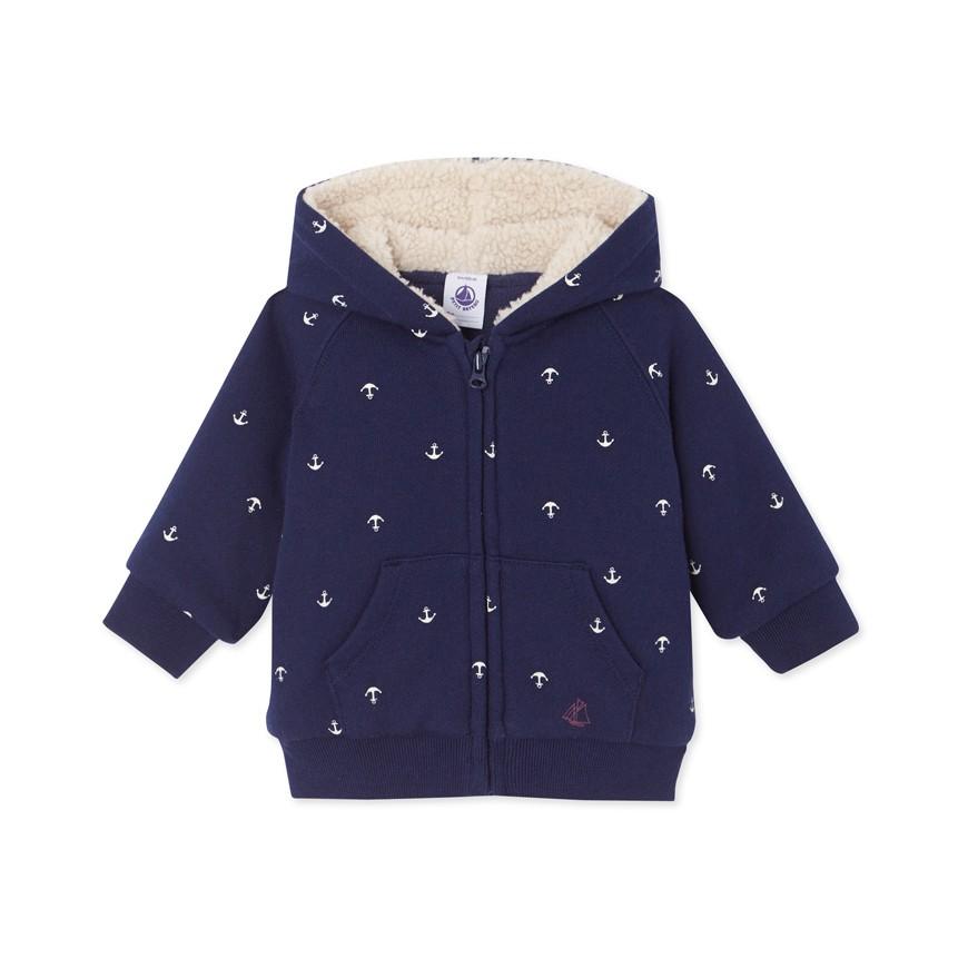 Baby boy s zippered lined sweatshirt - petit-bateau.gr bb5e0cfd1ad