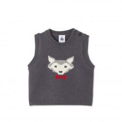 Baby boy's sleeveless jacquard sweater