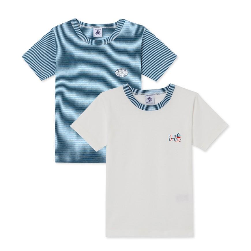 ca85a242b697 Σετ 2 μπλούζες κοντομάνικες για αγόρι - petit-bateau.gr