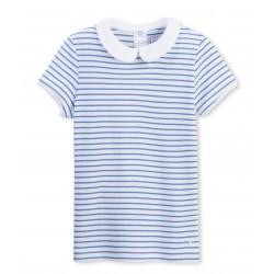 Μπλούζα κοντομάνικη ριγέ με γιακά για κορίτσι