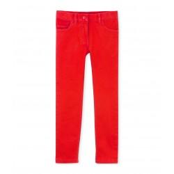 Girls' five-pocket jeans in colored denim