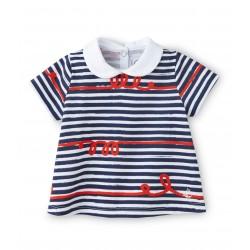 Μπλούζα κοντομάνικη με ακανόνιστες ρίγες για μωρό κορίτσι
