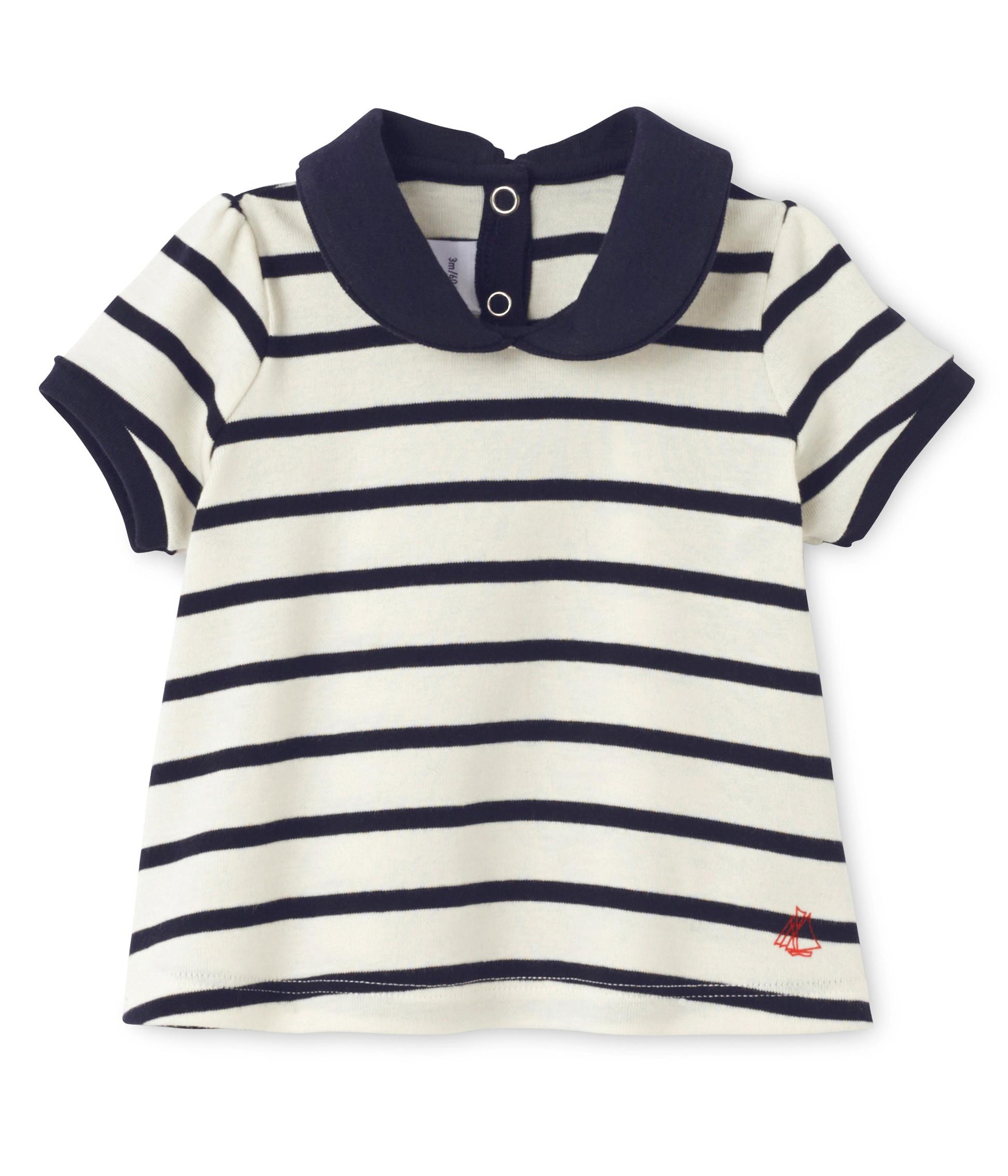 41f181129b30 Μπλούζα κοντομάνικη ριγέ με γιακά για μωρό κορίτσι - petit-bateau.gr