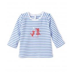 Μπλούζα μακρυμάνικη ριγέ για μωρό κορίτσι
