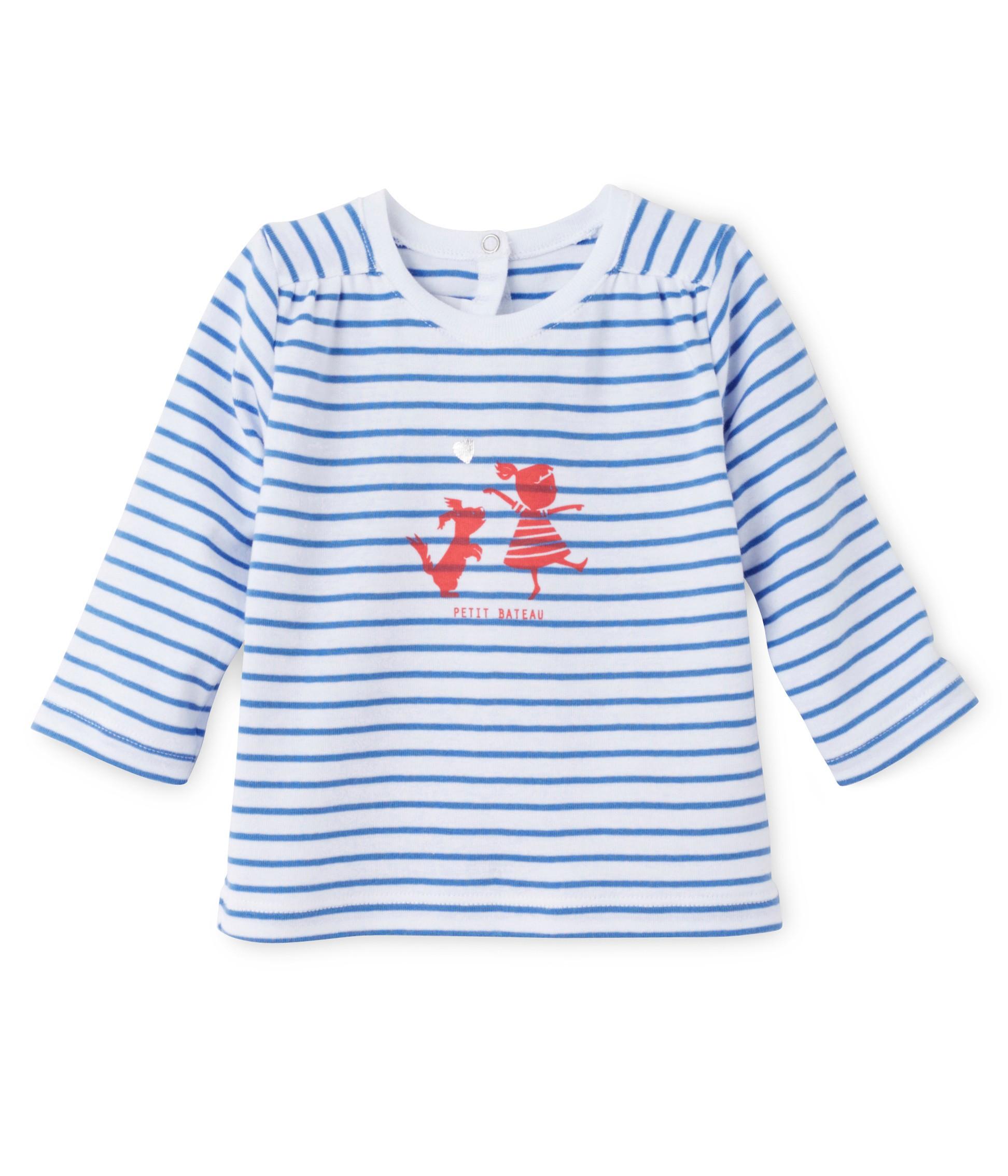 e631bb3ad98e Μπλούζα μακρυμάνικη ριγέ για μωρό κορίτσι - petit-bateau.gr