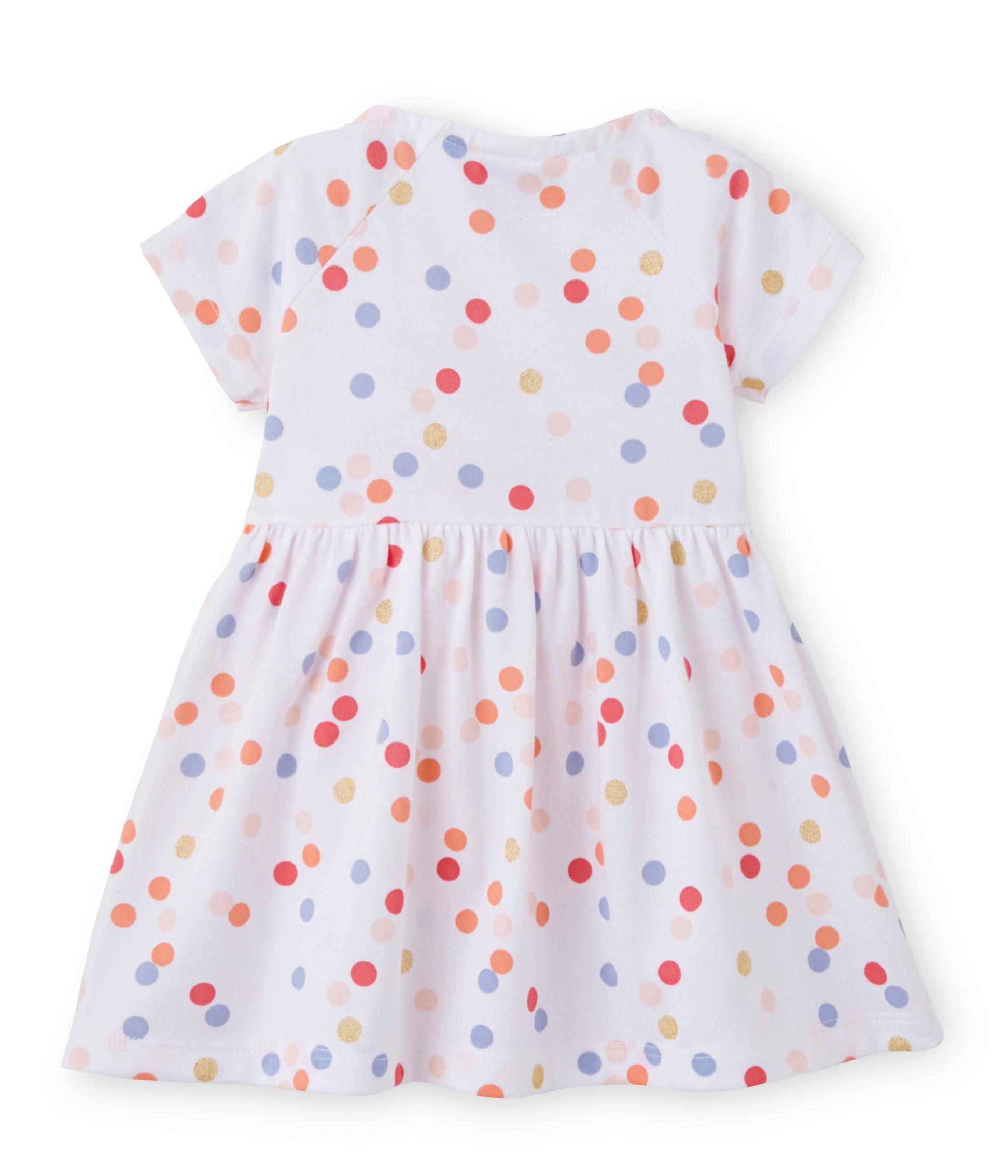 Baby girl dress with multicolor polka dot print petit bateau