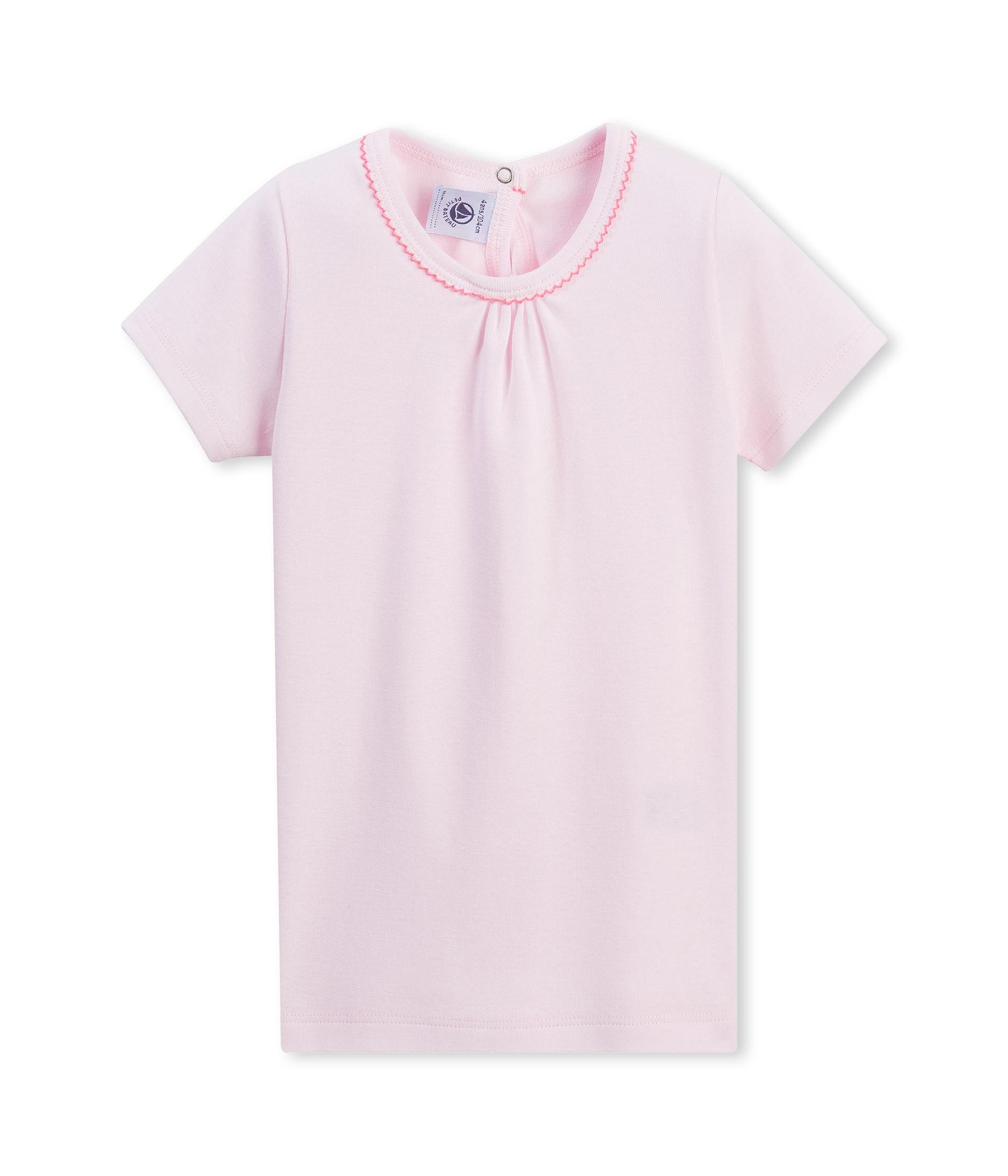 Μπλούζα κοντομάνικη μονόχρωμη για κορίτσι - petit-bateau.gr 5f097158d75
