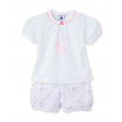 Baby girl's short pajamas in lightweight cotton