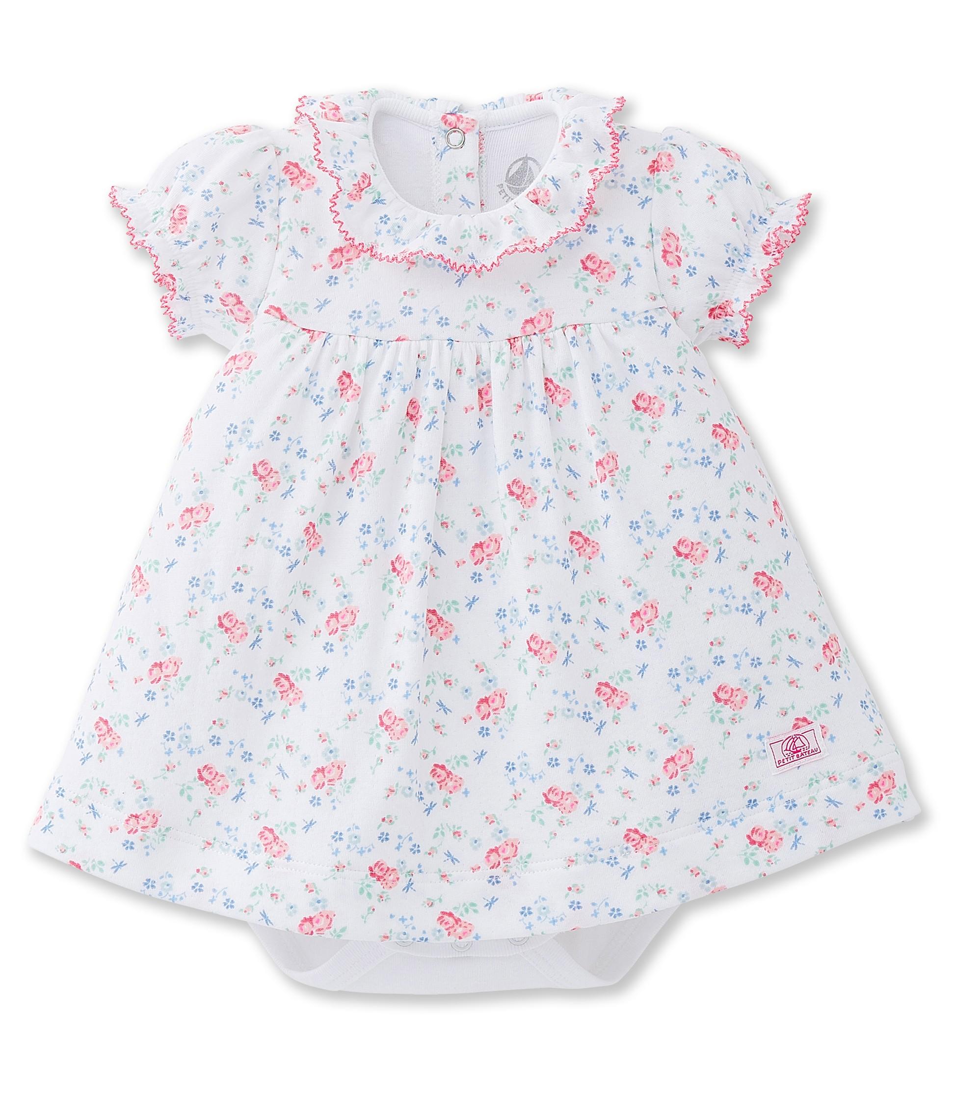Baby girl flower print bodysuit dress in a flower print tube knit