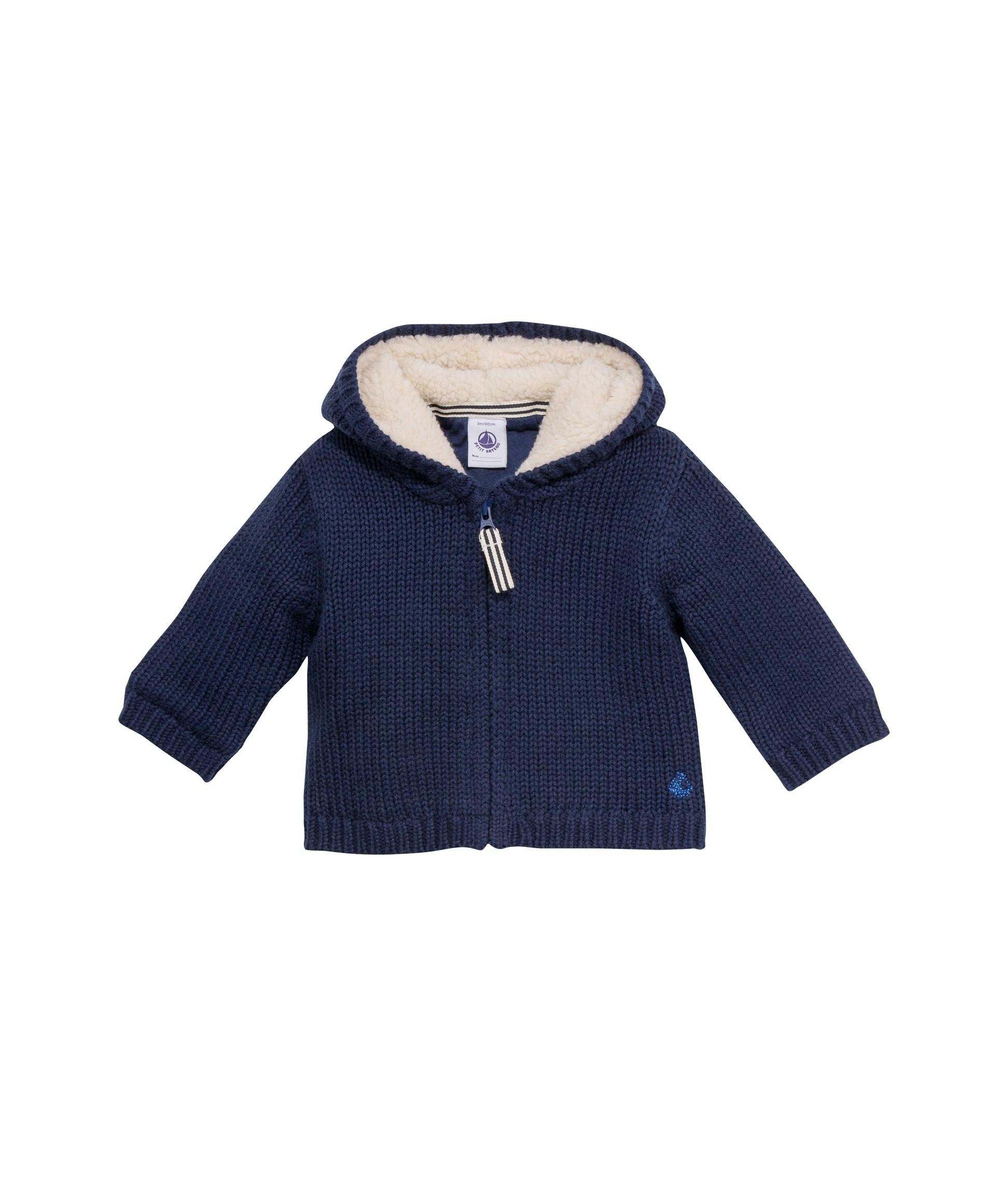 a5e9e01bf87 Μπουφάν με κουκούλα μονόχρωμο από μαλλί και βαμβάκι για μωρό αγόρι ...