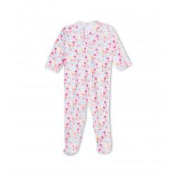Baby girl vintage flower print cotton sleepsuit