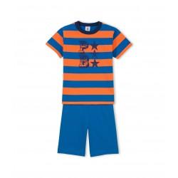 Boy's light jersey short pyjamas with silkscreen and wide stripes
