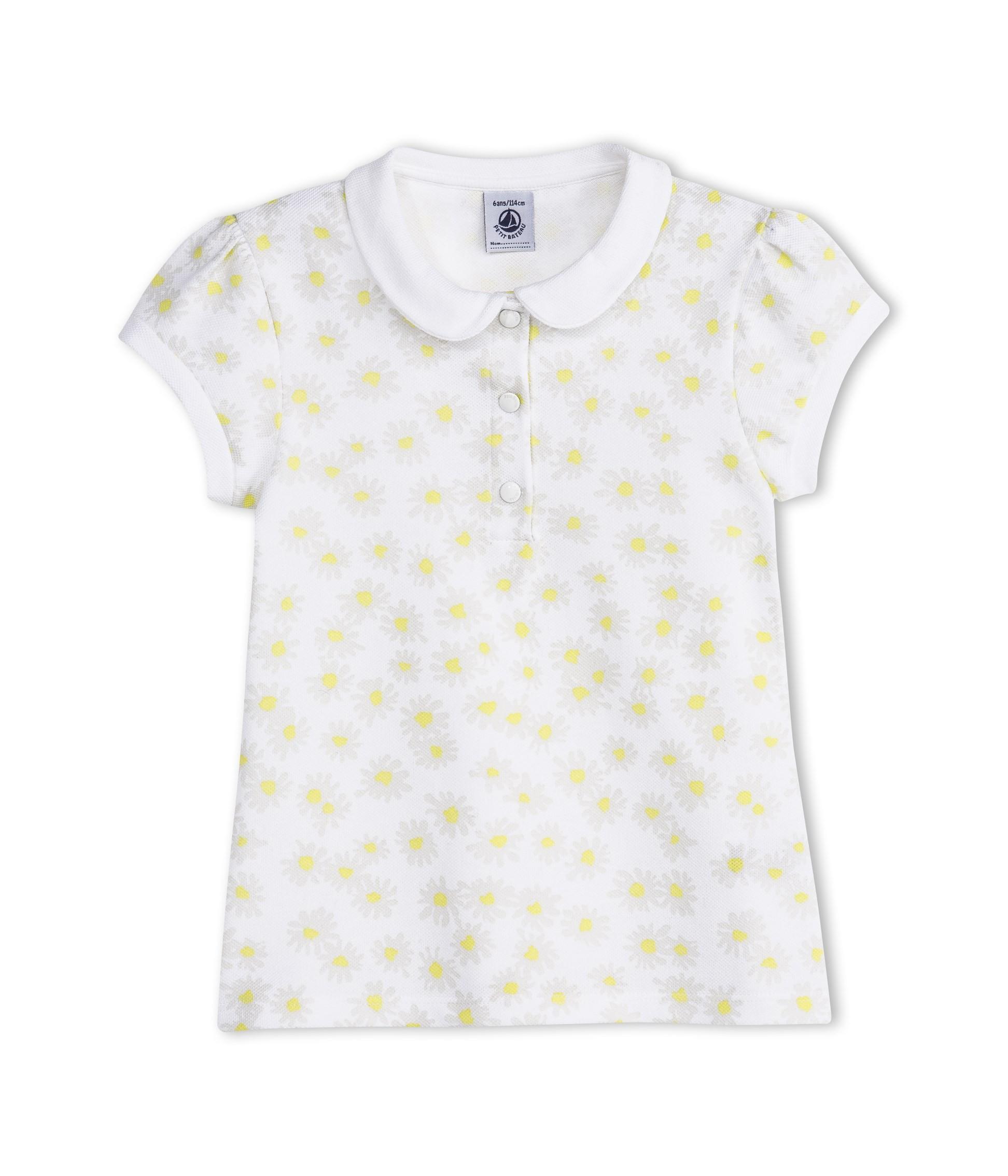 Μπλούζα κοντομάνικη πόλο με σχέδιο για κορίτσι - petit-bateau.gr c1eb7995543