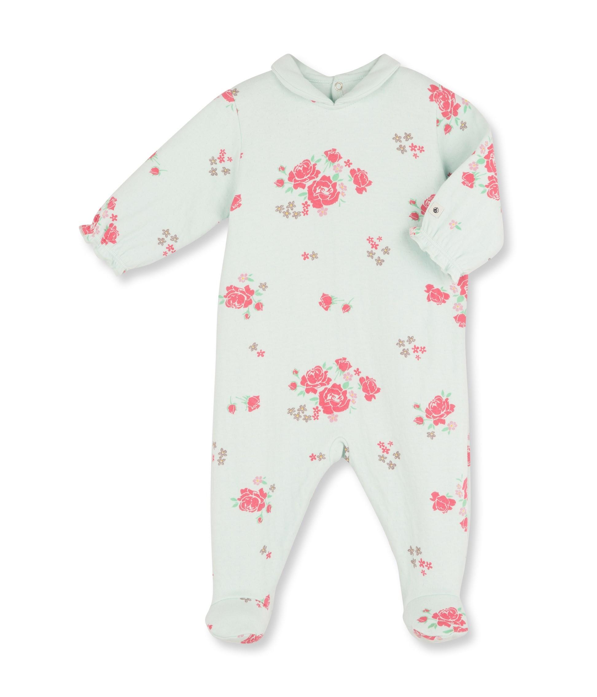 Baby girl rose print sleepsuit with Peter Pan collar petit bateau