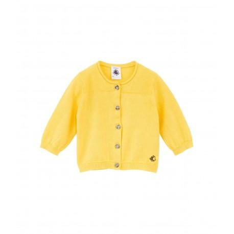 Girl's round neck plain cotton cardigan