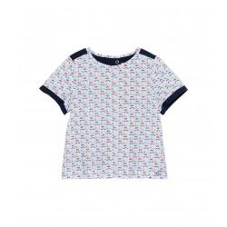 Girl's flower print and jersey poplin blouse