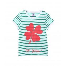 Girl's silkscreen print cotton T-shirt with little sailor stripes