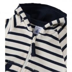 Baby boys' heavy jersey striped, zipped sweatshirt