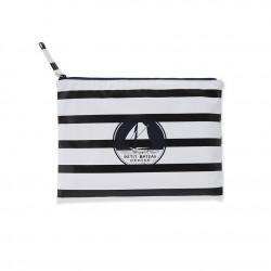 Women's striped waterproof clutch bag