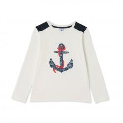 Boy's long-sleeved silkscreen print T-shirt