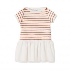 Φόρεμα κοντομάνικο δύο υλικών για μωρό κορίτσι