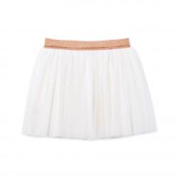 Φούστα βαμβακερή με πουά με πούλιες για κορίτσι