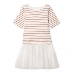 Φόρεμα κοντομάνικο δύο υλικών για κορίτσι