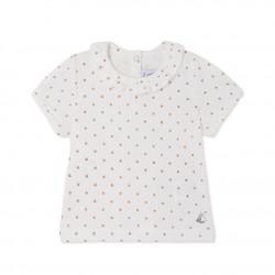 Μπλούζα κοντομάνικη βαμβακερή με σχέδιο για μωρό κορίτσι