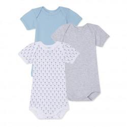 Σετ 3 κορμάκια κοντομάνικα για μωρό αγόρι