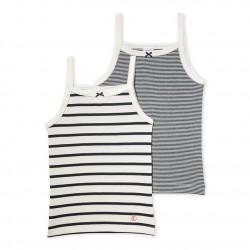 Pack of 2 girl's striped strap vests
