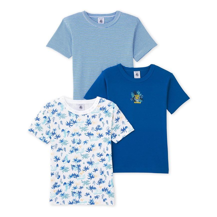a7a1f99b3c79 Σετ 3 μπλούζες κοντομάνικες βαμβακερές για αγόρι - petit-bateau.gr