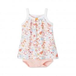 Φόρεμα τιραντάκι με ενσωματωμένο κορμάκι βαμβακερό με σχέδιο για μωρό κόριτσι