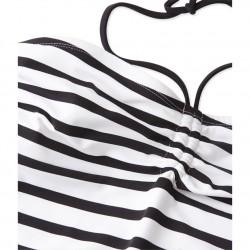 Women's one-piece striped swimsuit