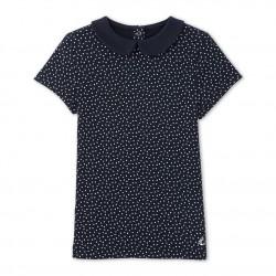 Girls' polka dot T-shirt with Peter Pan collar