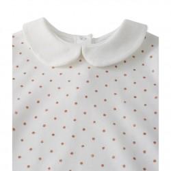 Girls' T-shirt with spangled Peter Pan collar
