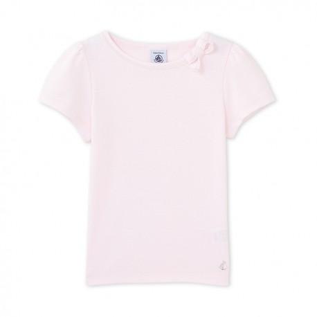 Μπλούζα κοντομάνικη μονόχρωμη για κορίτσι