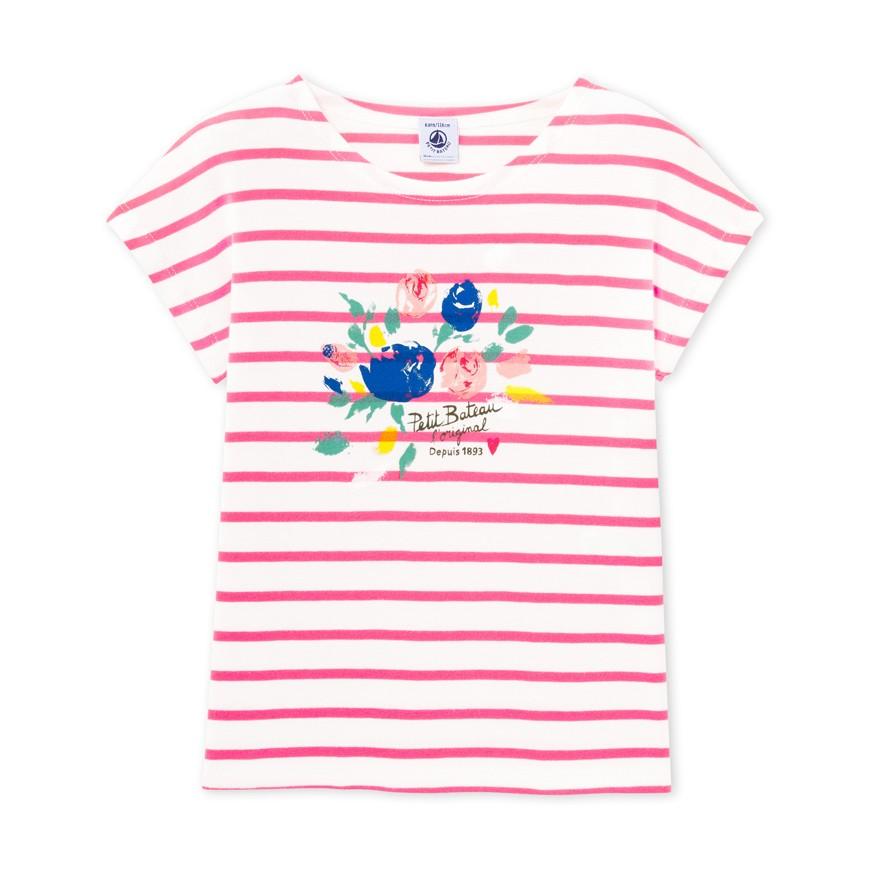 Girls 39 striped screen print t shirt petit for Screen print t shirt