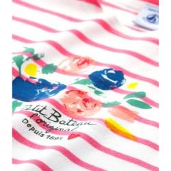 Girls' striped screen print T-shirt