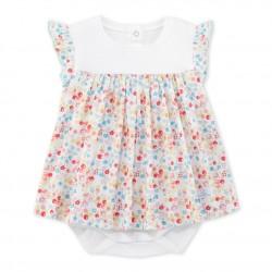 Φόρεμα με ενσωματωμένο κορμάκι κοντομάνικο με σχέδιο για μωρό κορίτσι