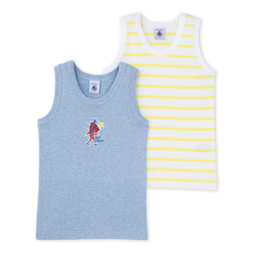 3c16d3702b6e Σετ 2 μπλούζες αμάνικες βαμβακερές για αγόρι - petit-bateau.gr