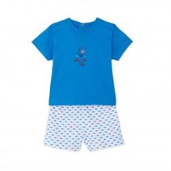 Πυτζάμα κοντομάνικη με σχέδιο για μωρό αγόρι