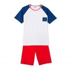 Teenage boys' tricolour short pyjamas